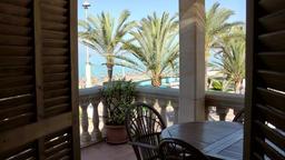 Spain Mallorca Island Playa de Palma 008 terrace of vacation apartmant at beach Footage