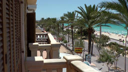 Spain Mallorca Island Playa de Palma 012 balcony of vacation apartment at beach Footage