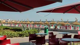 Spain Mallorca Island Playa de Palma 032 Balneario furniture for sitting outside Footage