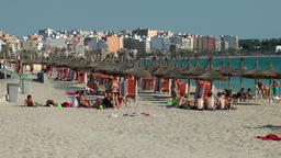 Spain Mallorca Island Playa de Palma 034 beach life in Arenal district Footage