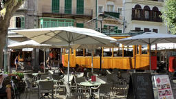 Spain Mallorca Island Sóller 005 old wooden tram on marketplace Footage