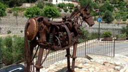 Spain Mallorca Island various 034 village Estellencs; scrap metal sculpture arts Footage