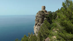 Spain Mallorca Island various 035 pirate watchtower on ledge 250 meters high Footage