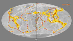 Earthquakes on the elevation map. Prime meridian 180 degree Animation