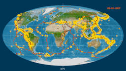 Earthquakes on the satellite map. Prime meridian 180 degree Animation