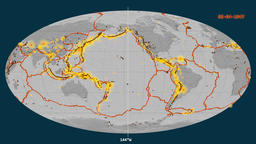 Earthquakes on the bilevel elevation map. Prime meridian 0 degree Animation