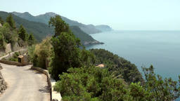 Spain Mallorca Island various 036 west coastline from viewpoint Torre Mirador Footage