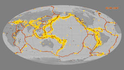 Earthquakes on the bilevel elevation map. Prime meridian: 180 degree Animation