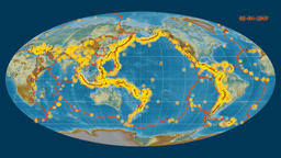Earthquakes on the relief map. Prime meridian: 180 degree Animation