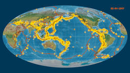 Earthquakes on the topographic map. Prime meridian: 180 degree Animation