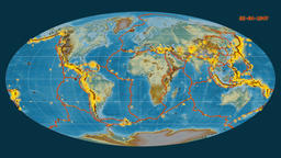 Earthquakes on the relief map. Prime meridian: 0 degree Animation