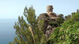 Spain Mallorca Island various 037 pirate watchtower on very tall rock Footage