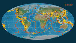 Earthquakes on the topographic map. Prime meridian: 0 degree Animation