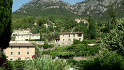 Spain Mallorca Island various 049 village Deia houses at hillside in a valley Footage