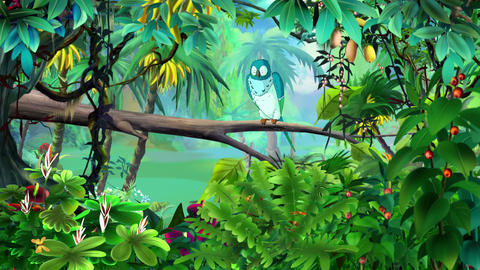 Blue Parrot in a Jungle UHD Animation
