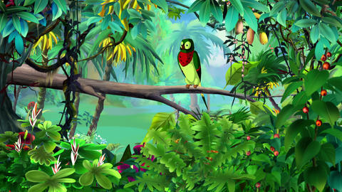 Colorful Parrot in a Jungle UHD Animation