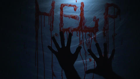 Kidnapped person seeking help, bloody message on plastic cloth, murder, slow-mo Live Action