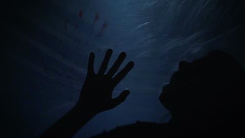 Dying silhouette of victim, creepy scene of murder, horror, slow-motion Live Action