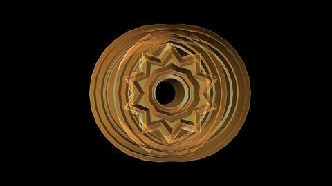 3d semitransparent object with starshape rotating, orange element on black backg Animation
