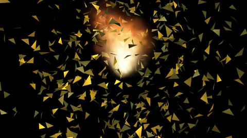 Burning gold ball explosion, flying particles, abstract video on black backgroun Animation