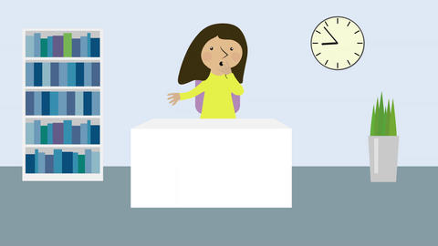 Stressed woman in office and time moving fast. Animated character with flat desi Animation