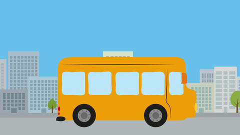 Yellow bus on street in city. Animation with flat design. Concept of public tran Animation