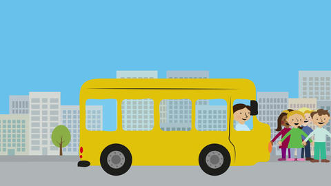 Yellow school bus with children on street in city. Animation with flat design. C Animation