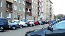 urban street with parked cars - flats (apartments) Footage