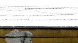barbed fence - stone wall peeled Footage