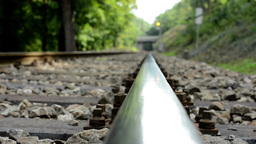 The Track For The Train In The Forest - Bridge - Detail Of Track - Trees stock footage