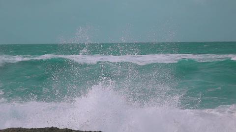 Slow Motion Ocean Waves Breaking on Shore Footage