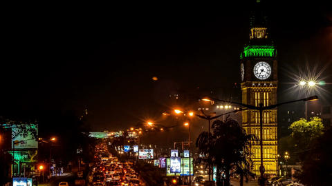 Times Lapse Of Night Time Traffic In The City Kolkata With Iconic Clock stock footage