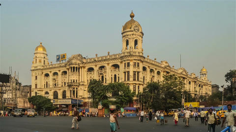 Time lapse of a Calcutta traffic in front of iconic building Footage