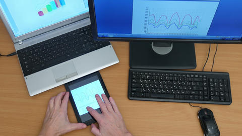 Overhead Shot Of Man Using Computers stock footage