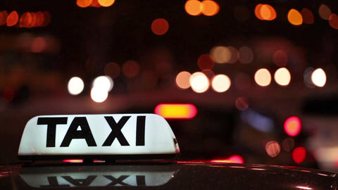 Taxi (Cab) with motion blur and city lights Footage