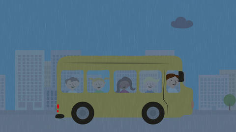 Yellow school bus with children driving in rain.…, Stock Animation