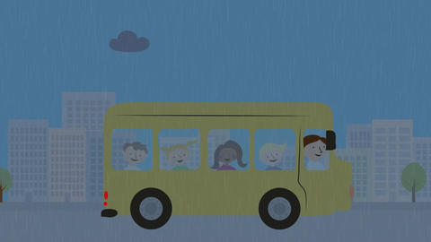 Yellow school bus with children driving in rain. Animation with flat design. Con Animation