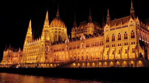 Tracking shot of the budapest parliament at night Footage