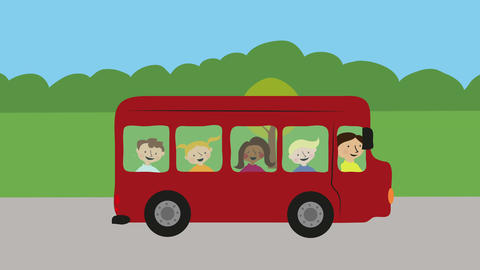 School bus with children driving in nature. Animation with flat design. Concept Animation