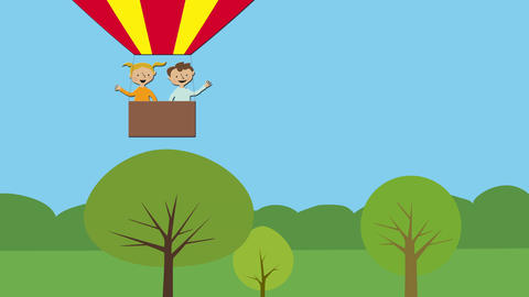 Hot air balloon with children flying in nature. Animated character with flat des Animation