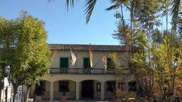 Spain Mallorca Island mountain village Montuiri 008 small town hall with flags Footage