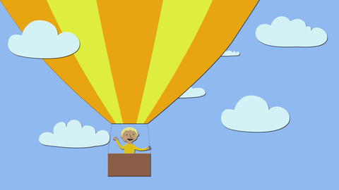 Hot air balloon with happy man flying in blue sky with clouds. Animated characte Animation