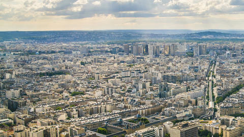 Paris from above, divine summer sunshine illuminating city buildings, timelapse Footage