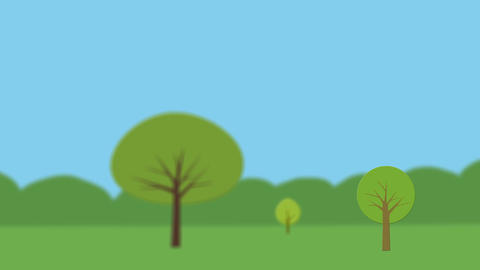 Nature background with green landscape and trees. Focus shift. Animation with fl Animation