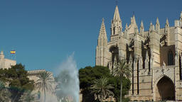 Spain Palma de Mallorca 004 Gothic style Cathedral and fountain Footage