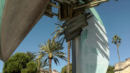 Spain Palma de Mallorca 007 modern art sculpture with palm trees Footage
