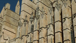 Spain Palma de Mallorca 011 Gothic Cathedral facade close with pan Footage