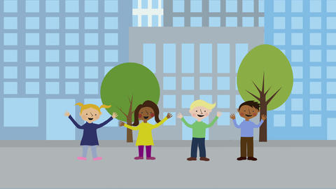 Children in city. Animated character with flat design. Concept of childhood frie Animation