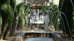 Spain Palma de Mallorca 019 long row of fountains in a park Footage