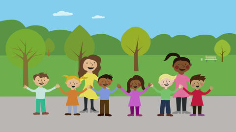 School children and teachers outdoors. Animated character... Stock Video Footage